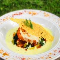 Saumon sur lit de légumes, crème de curry (demande spéciale)
