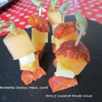 brochette chorizo, melon & comté