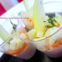 verrine saumon , mascarpone et pomme verte